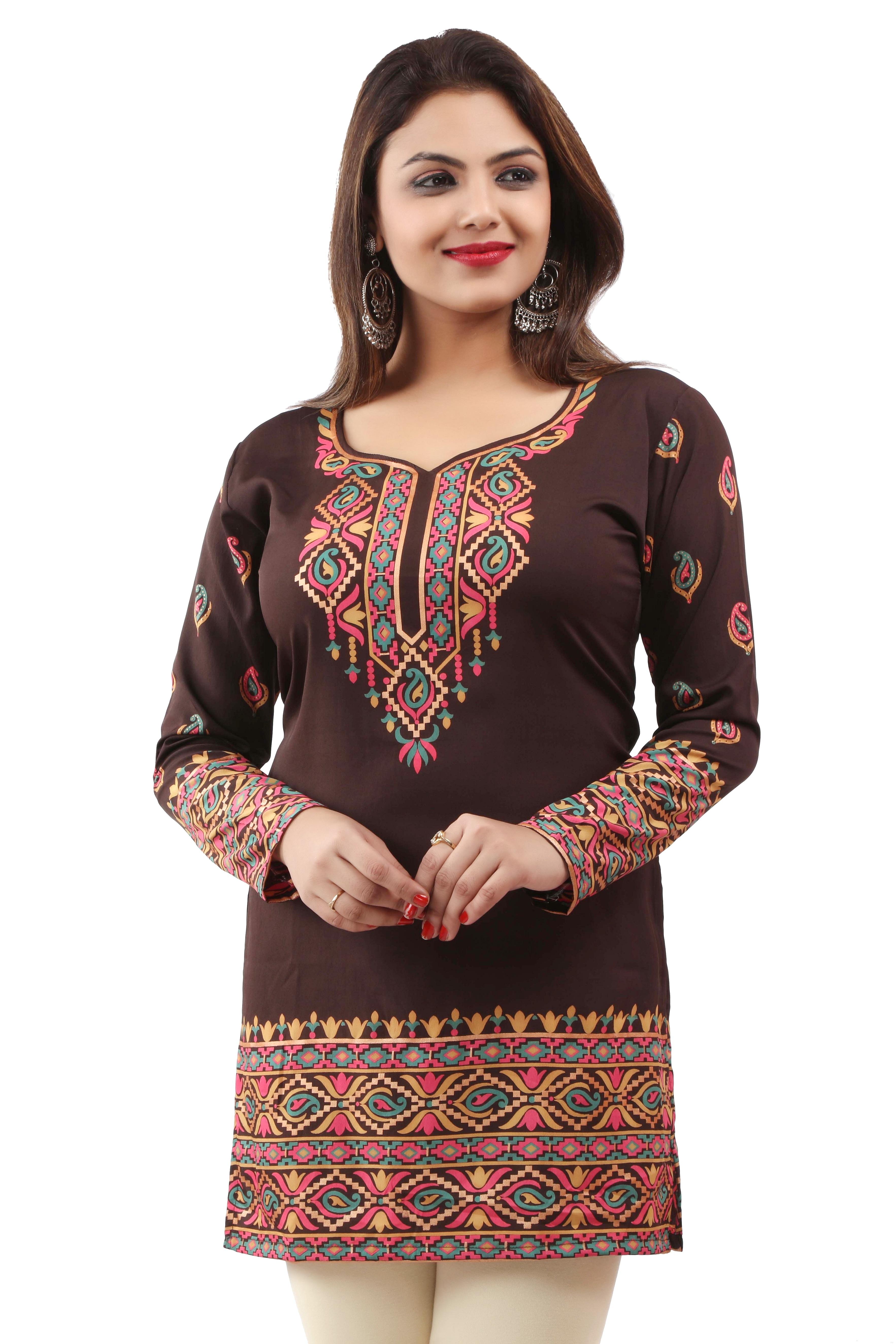 Embroidery Patch Brown Indian Short Kurti Tunic Kurta Top Shirt Dress ECCO02