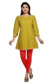 Designer Mehndi Color Rayon Short Length Kurti