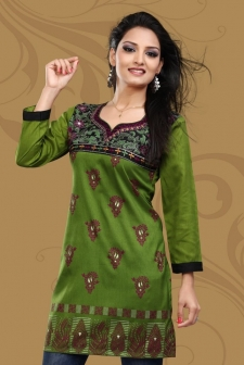 Green Embroidered Crepe Silk Kurti With Full Sleeve