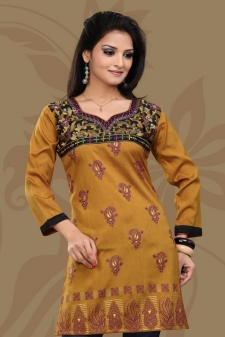 Mustard Yellow Embroidered Crepe Silk Short Kurti